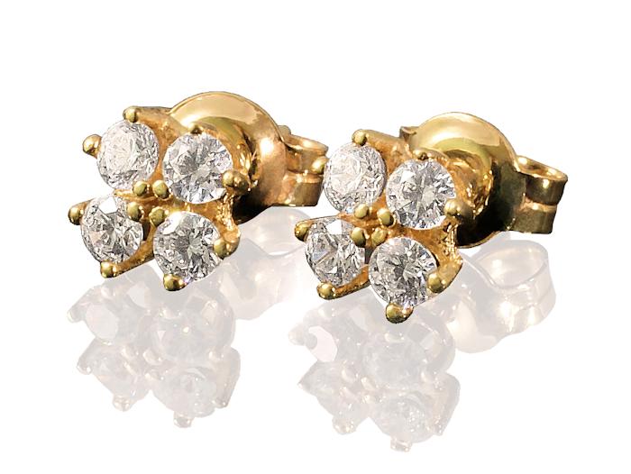 Złote kolczyki z białymi cyrkoniami na prezent, próba 585