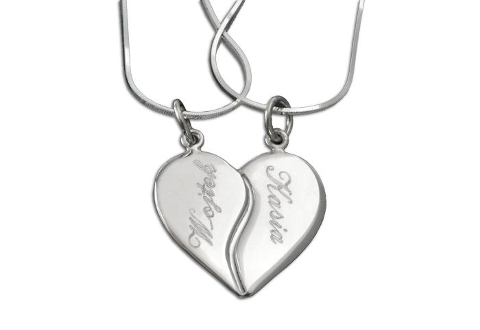 Duże srebrne serce łamane z grawerem - wisiorki i 2 dwa łańcuszki