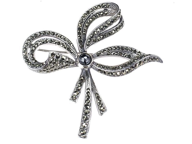 Broszka srebrna Kokarda z markazytami na prezent