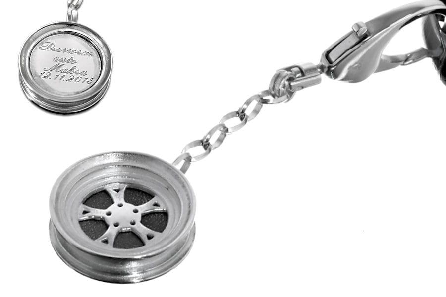 Breloczek do kluczy Felga z grawerem srebro 925