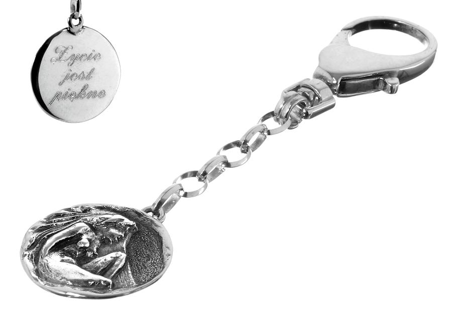 Srebrny breloczek do kluczy znak zodiaku Panna z grawerem