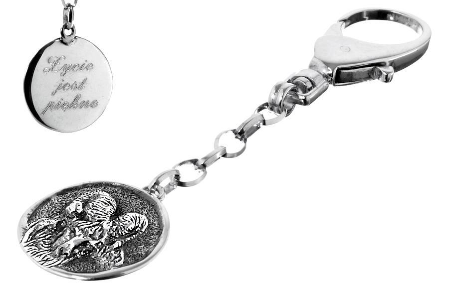 Srebrny breloczek do kluczy znak zodiaku Baran z grawerem