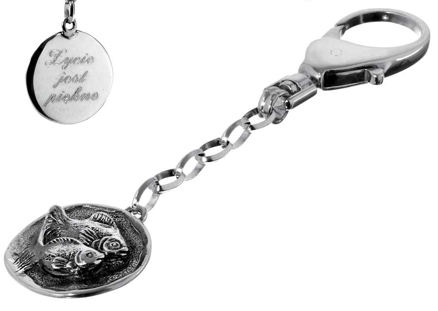 Srebrny breloczek do kluczy znak zodiaku Ryby z grawerem