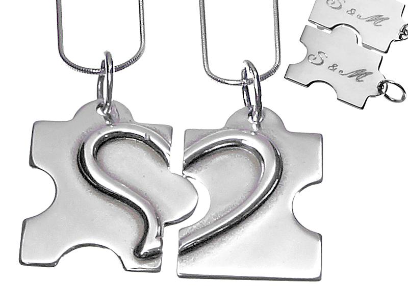 Dwie połówki serce Puzzle srebrne wisiorki z grawer dla pary + 2 łańcuszki