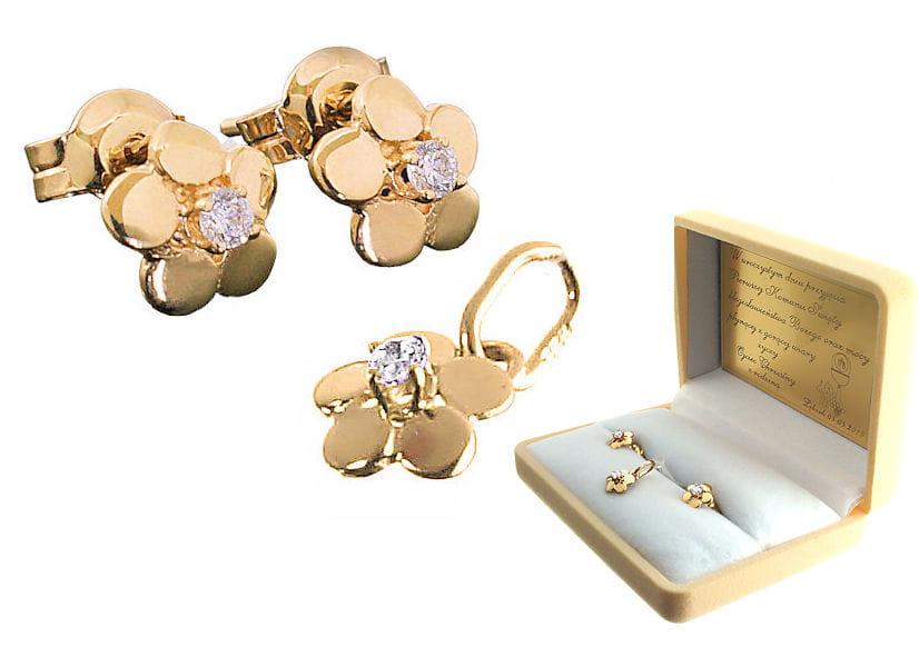 Złoty komplet - kolczyki i wisiorek Kwiatki z cyrkoniami, próba 333 - prezent na Komunię