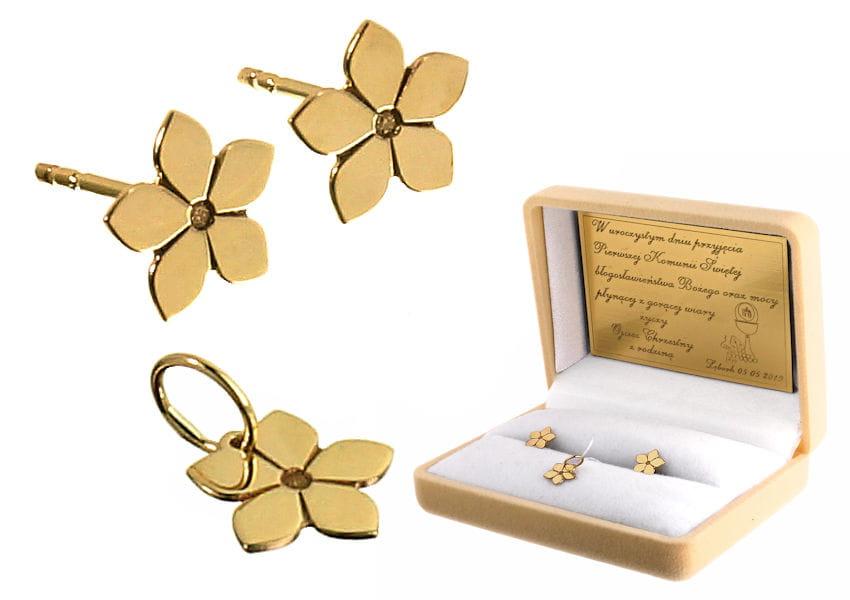 Złoty komplet - kolczyki i wisiorek Kwiatek, próba 585 - prezent na Komunię