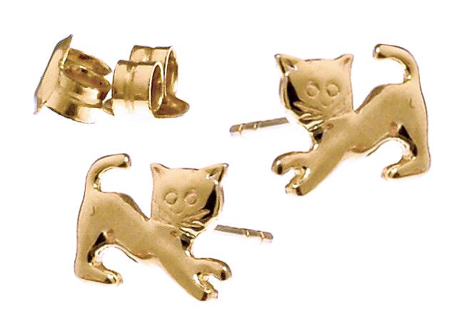 Złote kolczyki delikatne Kotki, próba 585