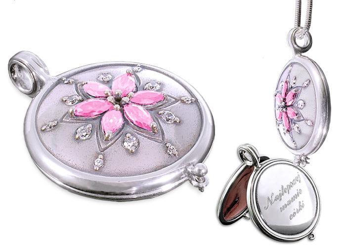 Srebrny sekretnik Kwiat cyrkonie różowe z grawerem + łańcuszek