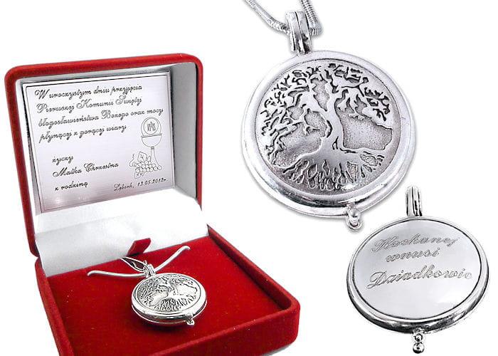 Srebrny sekretnik Drzewo Życia Pamiątka I Komunii Świętej