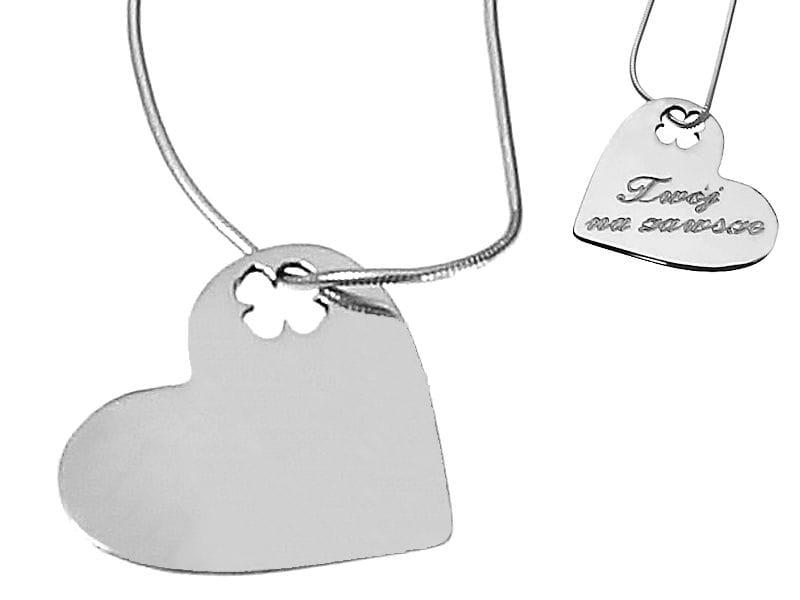 Naszyjnik srebrne serce na łańcuszku z grawerem
