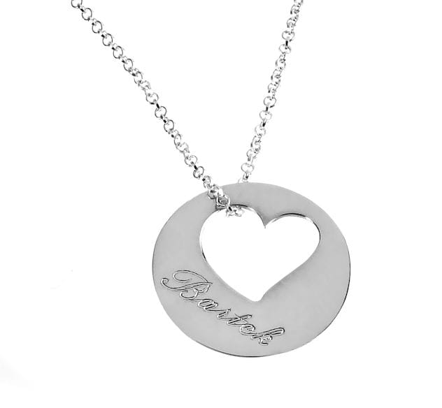 Naszyjnik srebrne kółeczko z sercem na łańcuszku, grawerem