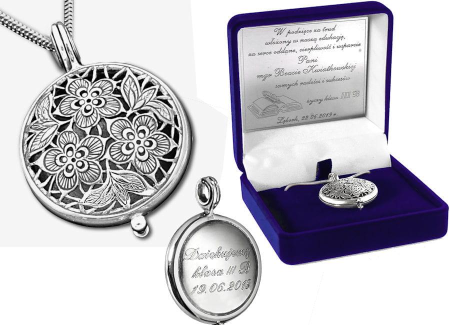 Srebrny sekretnik Kwiatki ażurowe z grawerem Prezent dla nauczycielki