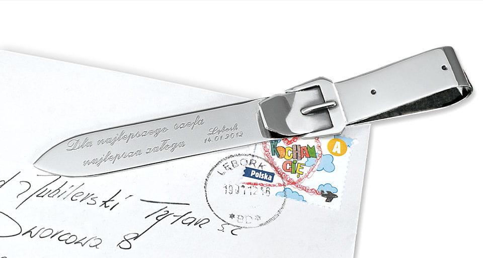 Srebrny nóż do papieru, kopert Pasek z grawerem