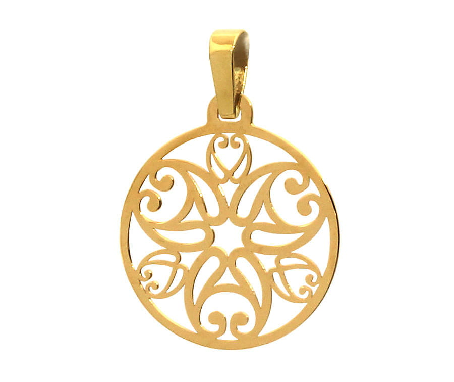 Wisiorek złoty ażurowe kółeczko - zawieszka Rozeta