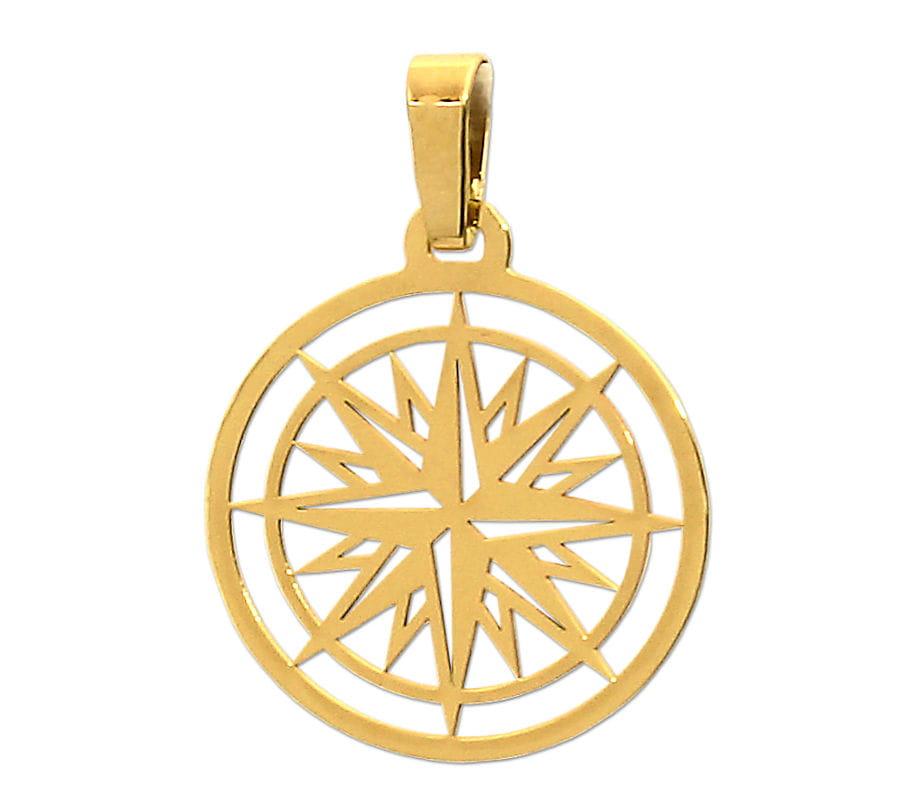 Złoty Wisiorek Róża Wiatrów - zawieszka kompas