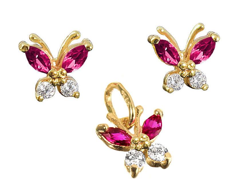 Złoty komplet- kolczyki i wisiorek Motylki z cyrkoniami, próba 585 - kolory