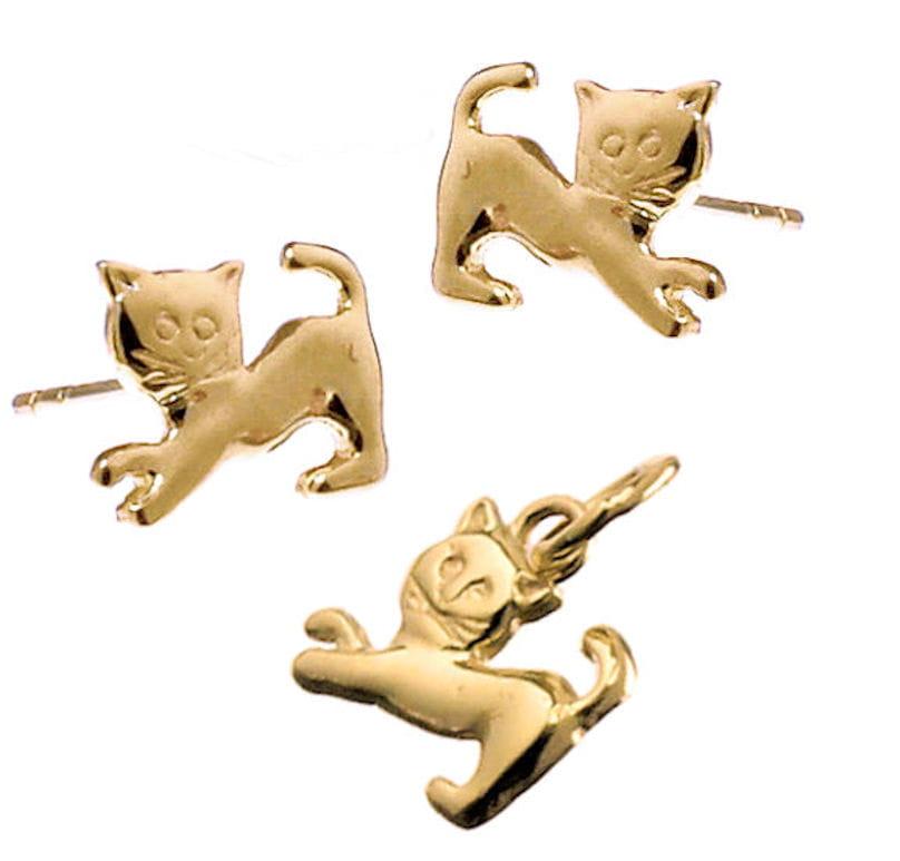 Złoty komplet - kolczyki i wisiorek Kotki, próba 585