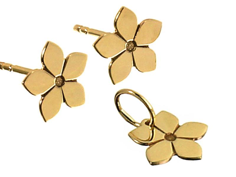 Złoty komplet - kolczyki i wisiorek Kwiatek, próba 585