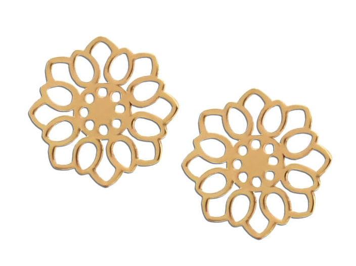 Złote kolczyki ażurowe Kwiatki na sztyft, próba 585