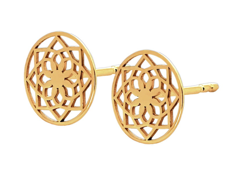 Złote kolczyki ażurowe Kółeczka - Mandala, próba 585