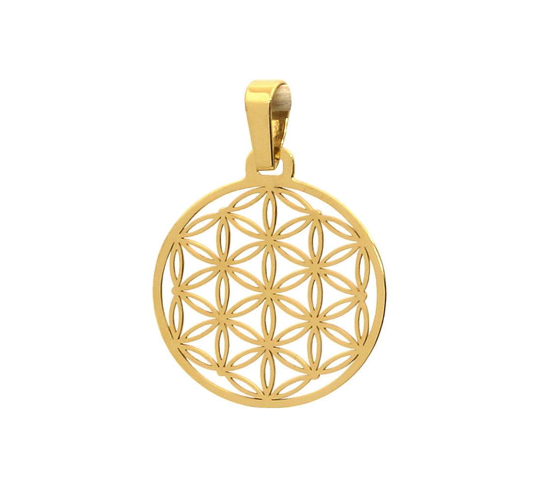 Złota zawieszka ażurowe kółeczko - Kwiat Życia