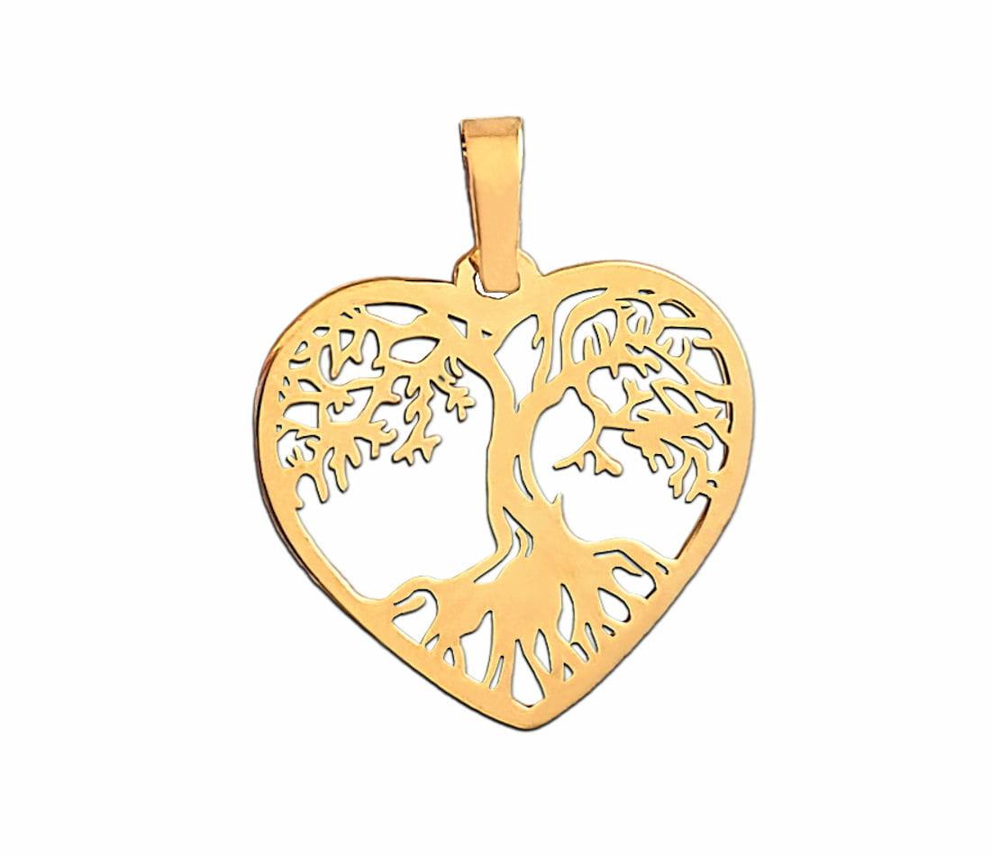 Zawieszka złote Serce z Drzewem Życia - wisiorek - złoto 585