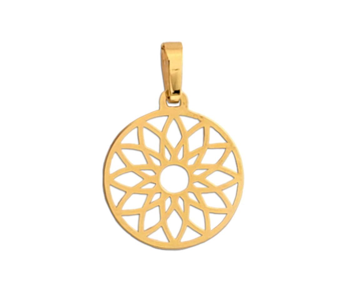 Złoty wisiorek Mandala - ażurowa zawieszka rozeta