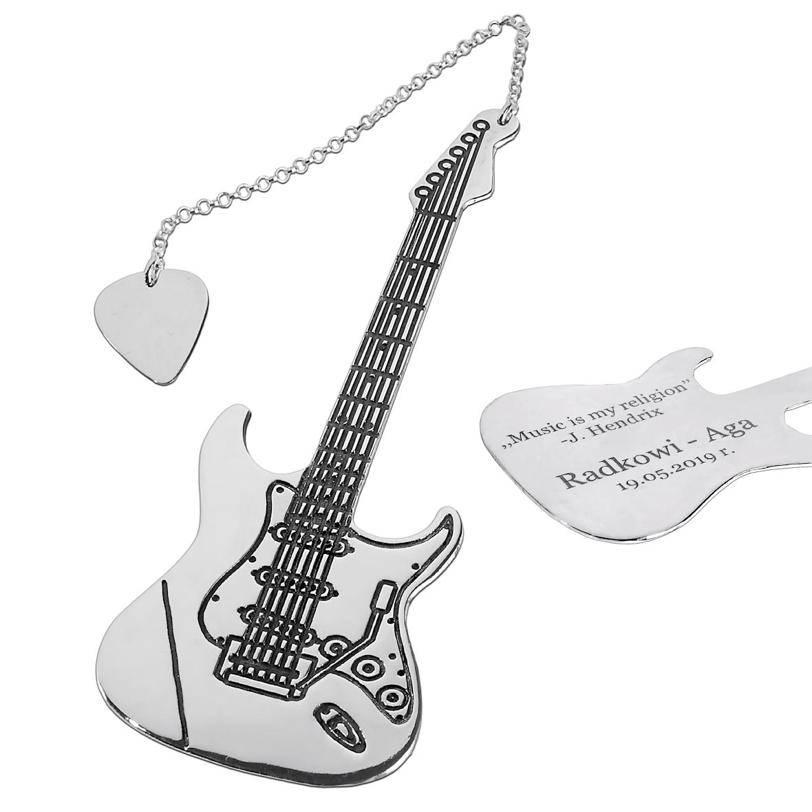 Srebrna Gitara - zakładka do książki z grawerem