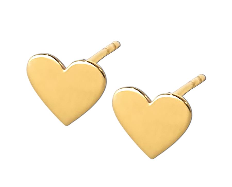 Złote kolczyki Serca celebrytki na sztyft - złoto 585