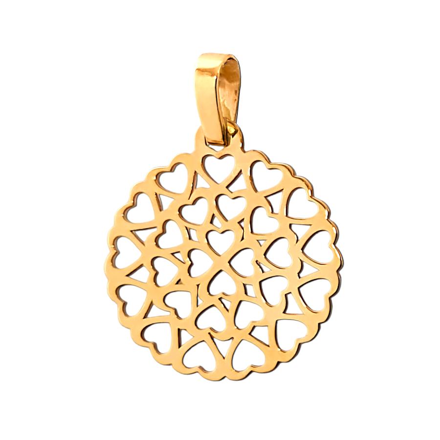 Złota zawieszka Mandala z serduszek - wisiorek złoto 585