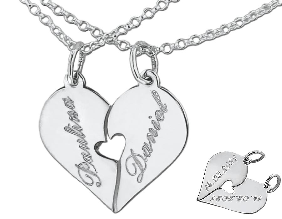 Srebrne serce dwie połówki z grawerunkiem, 2 łańcuszki