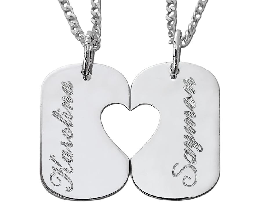 Dwie połówki serca - nieśmiertelnik z grawerunkiem, 2 łańcuszki