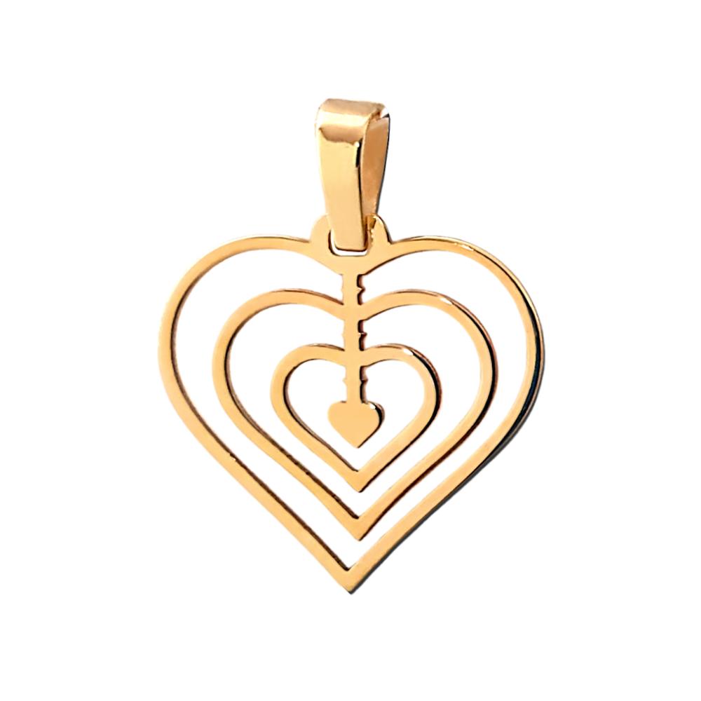 Złoty wisiorek Serduszko- ażurowa zawieszka - złoto 585