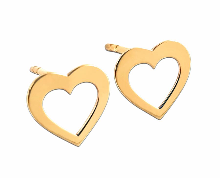 Złote kolczyki delikatne Serduszka - złoto 585