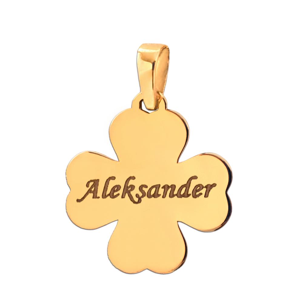 Złoty wisiorek Koniczynka z grawerunkiem - złoto 585