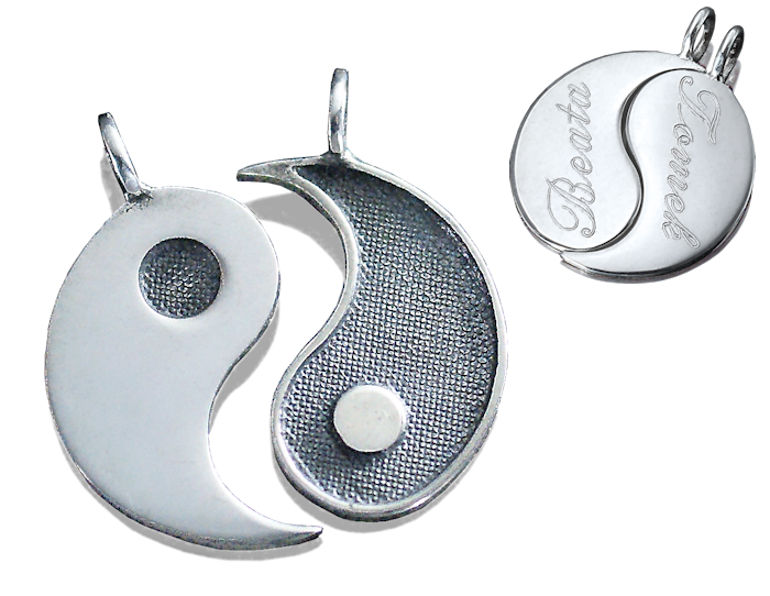 Wisiorki srebrne Yin Yang z grawerem jak serce łamane