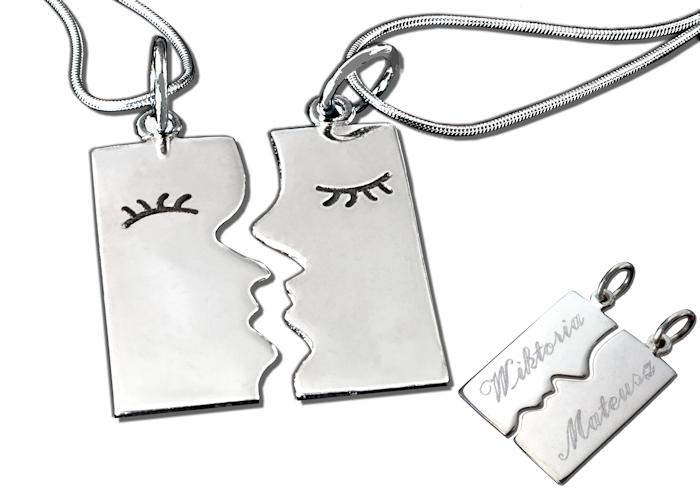 Komplet srebrny wisiorek 2 części dla dwojga + 2 łańcuszki, grawer