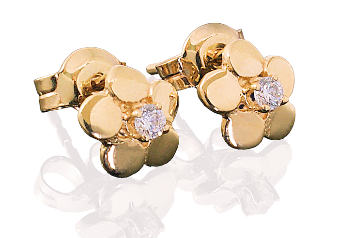 Złote kolczyki Kwiatki z białą cyrkonią dla dziecka, próba 585